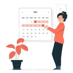 Grafik: Frau plant Termine am Wandkalender - Organisation von Sprachtrainings