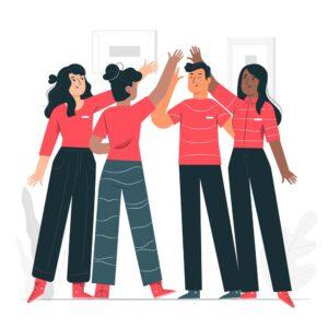 Grafik: Team aus vier Frauen und Männern freut sich über erfolgreiches Teamwork - IKS-Team aus Sprachtrainern